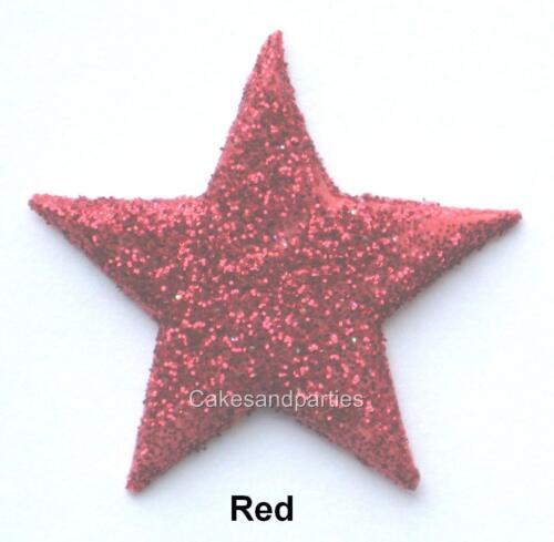 SMALL 2cm x 20 EDIBLE RED GLITTER STARS CAKE DECORATIONS