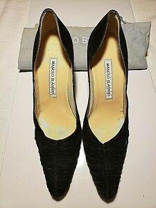 Manolo-Blahnik-Womens-Sz-36-5-6-5-Pointed-Toe-Suede-Heels-Black-Good-Cond-Bag