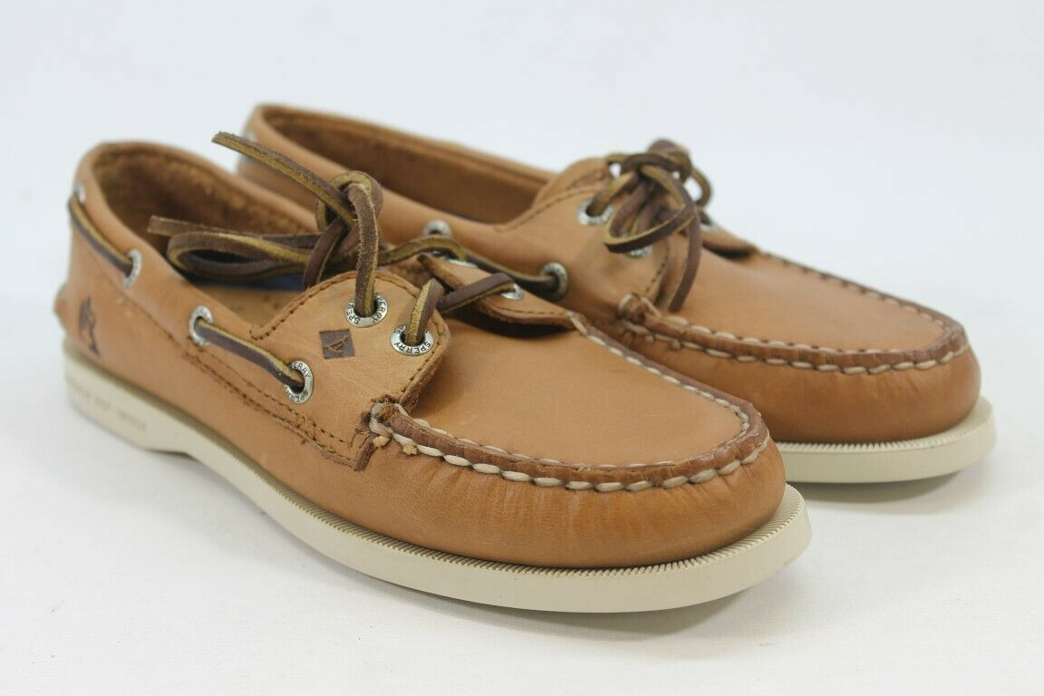 Sperry-Top Sider Authentic Original Women's Tan/Cream Boat Shoes-Custom- 6M