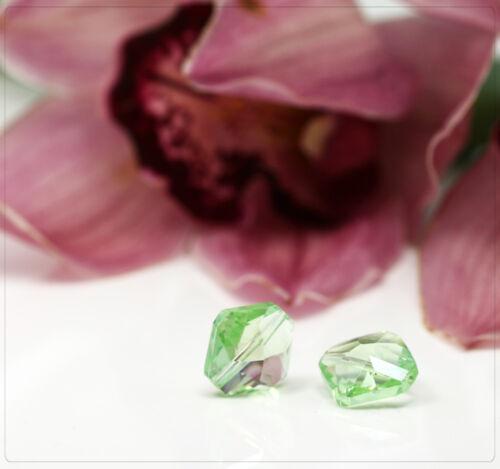 2x Verre Perles Cristal Perles Beads Bijoux À faire soi-même Bricolage Vert Losange 15 mm fb005