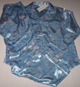NWT Miss Elaine Blush Pink Aqua Blue PAISLEY Brushed-Back SATIN ... c3d562297