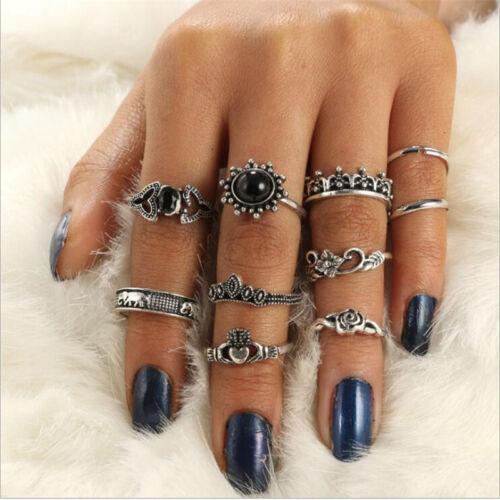 New Set Elephant Finger Knuckle Ring Band Boho Retro Midi Rings Stacking Rings