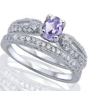 Ovale-Lavanda-Luce-Alexandrite-Cz-Fidanzamento-Matrimonio-Anello-Argento-Set