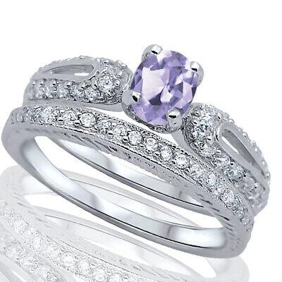 Brilliant Lavender Engagement Wedding CZ Sterling Silver Ring Set