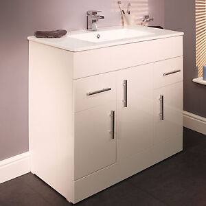 900mm white high gloss finish bathroom vanity storage cabinet unit