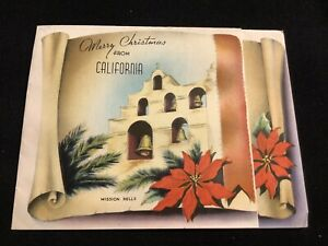 1972-Vintage-40s-Merry-Christmas-From-CALIFORNIA-Linen-Greeting-Card