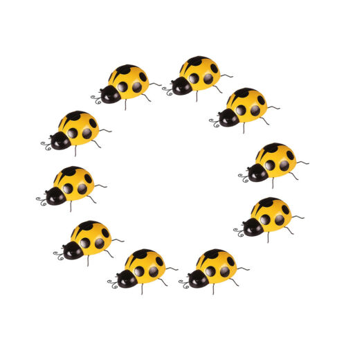 10x Metal Ladybug Insect Hanger Wall Hanging Outdoor Garden Decor10cm Yellow
