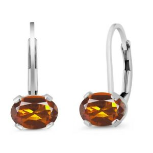 1-40-Ct-Oval-Orange-Red-Madeira-Citrine-925-Sterling-Silver-Leverback-Earrings