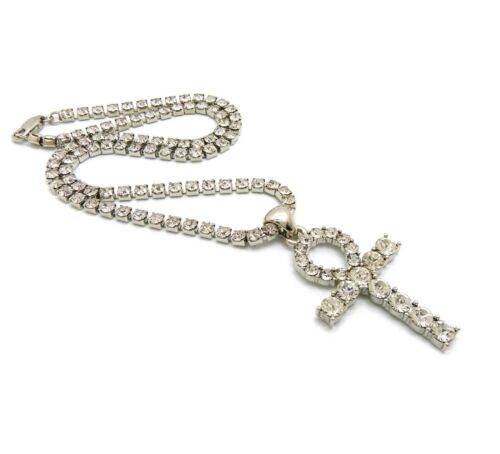 Iced Out Hip Hop Bling Ankh Cross Pendant & 3mm 16 1 Row Tennis Chain Necklace