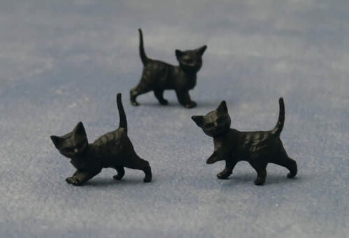 Three Black Kittens Cats Pets Animals 1.12th Scale Doll House Miniature