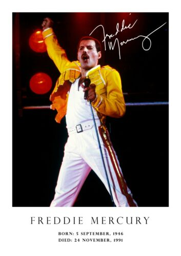 copy signed A3-420mm x 297mm NEW # 31 Freddie Mercury poster tribute