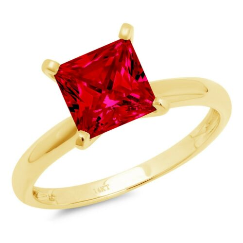 Details about  /2.5 ct Princess Cut Ruby Stone Wedding Bridal Promise Ring 14k Yellow Gold