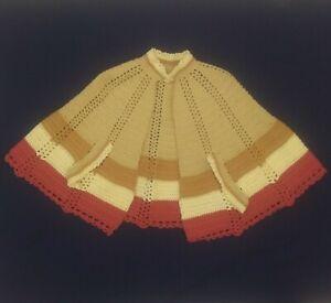 vintage-SHAWL-CAPE-PONCHO-60s-70s-Festival-BOHO-Hippie-Knit-Crocheted-4-TONE