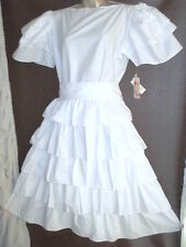 Vtg 80s White Dress Frilly Tiered Communion Square Dance Preppy Made California