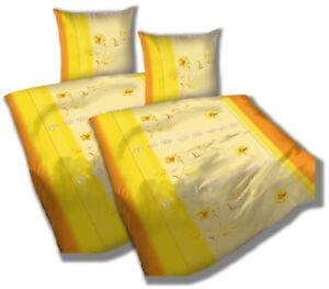 Microfaser Bettwäsche 4 Teilig Blumen Gelb 135x200 Neu Bettsocken