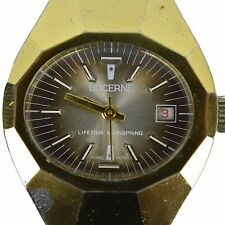 Lucerne Watch Wristwatch Hong Kong Womens Gold Wind Up Vintage Old Art Deco