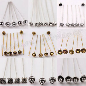 Lots-20Pc-Silver-Golden-Metal-Head-Crown-Ball-Pins-Jewellery-Finding-50Mmm