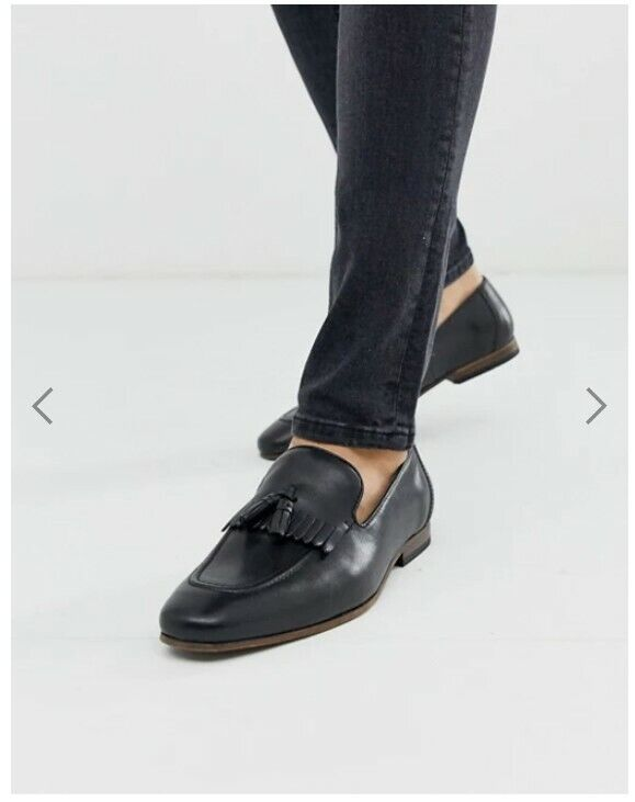 ASOS DESIGN loafers in black leather with fringe detail and natural sole Size 5