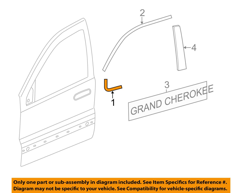 Jeep CHRYSLER OEM 16-18 Grand Cherokee Front Door-Corner Molding Left 68257469AB