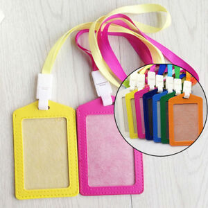1x-PU-Id-Holders-Case-Holder-Business-Badge-Card-Holder-with-Necklace-Lanyard-Px