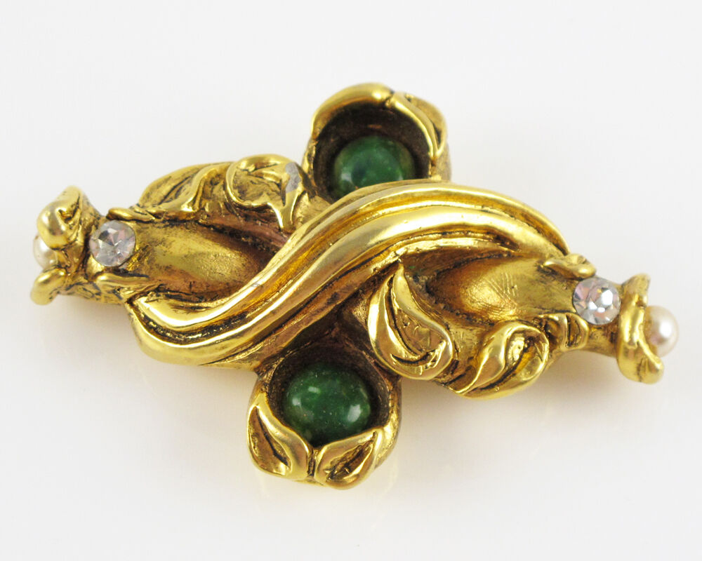 Claire Deve Signed Vintage Pin Brooch gilt resin … - image 1
