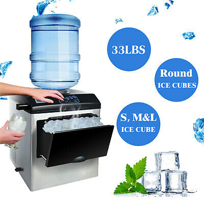 Ice Cubes ready in 7 Minutes 33lbs Daily Portable Ice Making Machine with Ice Scoop and 2.6 lb Ice Storage 2 in 1 Commercial Ice Maker Machine with Water Dispenser