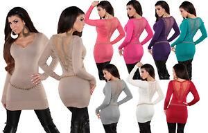 Maxitop-donna-miniabito-maglia-sexy-tulle-borchie-amp-strass-schiena-nuovo
