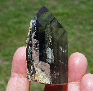 Smoky-Quartz-with-Rutiles-Crystal-Point-Internal-Phantom-Layers-Inside