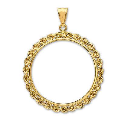14K Gold Prong Rope Polished Coin Bezel - 18 mm - SKU #63606