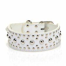 18-24`` Leather Studded Large Dog Collar Pet Collar White Small Size