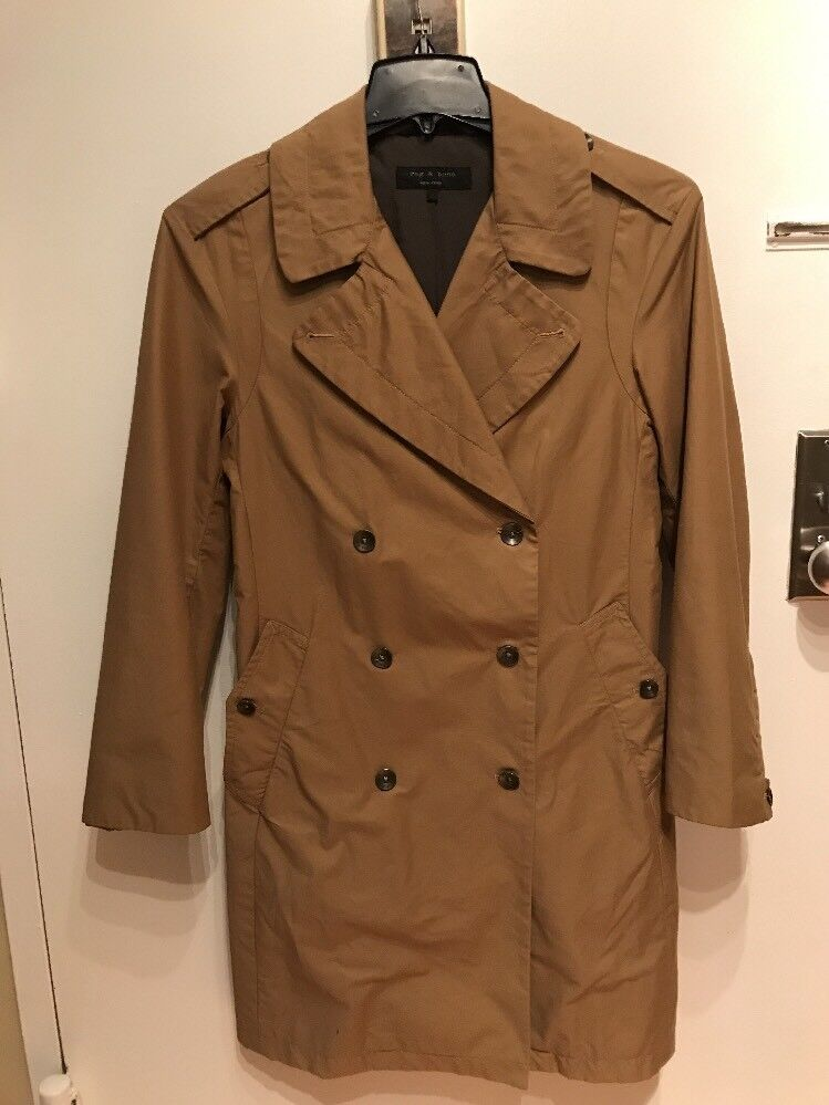RAG & BONE  WOMENS TAN DOUBLE BREASTED Trench Coat 2