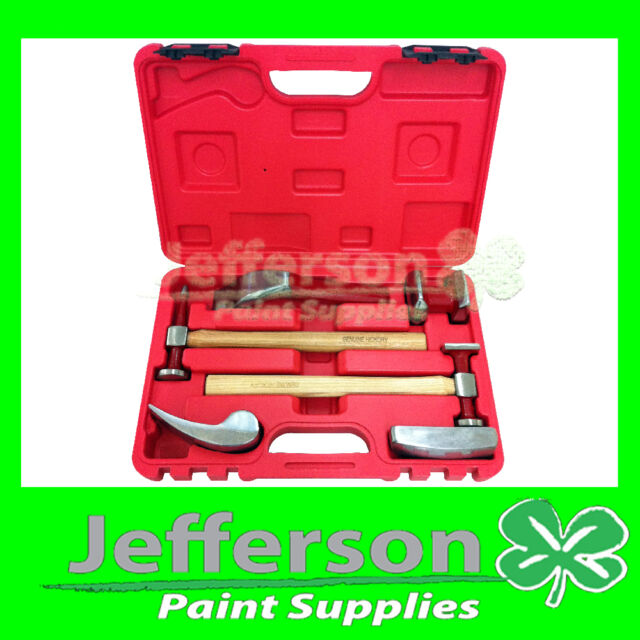 PANEL BEATING SET REPAIR 6 PIECE GENUINE HICKORY HAMMER AND DOLLY KIT