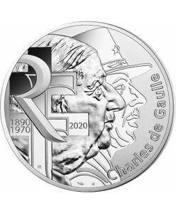 FRANCE-10-Euros-Argent-General-de-Gaulle-2020-UNC-Silver-coin