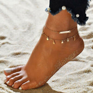HD-1PC-Fashion-Alloy-Dual-layer-Star-Pendant-Barefoot-Anklet-Ankle-Jewelry-Gift