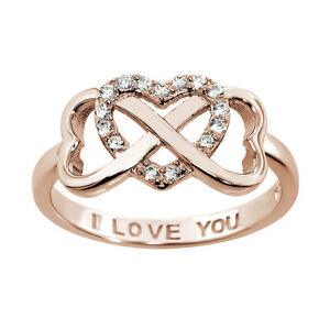Sterling Silver 14k Yellow Gold I Love You Infinity Ring All Sizes Available