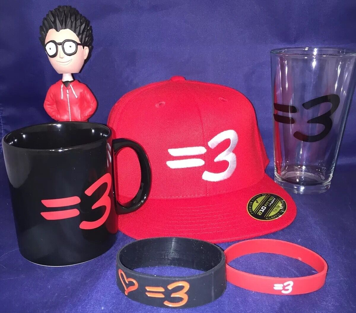 Ray Show William Johnson =3 YouTube Show Ray Hat Mug Glass Bobble Head & Bracelet New Lot 69ae40
