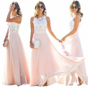 Formal-Long-Women-Lace-Dress-Prom-Evening-Party-Cocktail-Bridesmaid-Wedding-AU