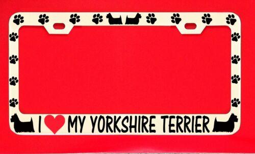 I Love My Yorkshire Terrier License Plate Frame Tag Dog Paw Weatherproof Vinyl