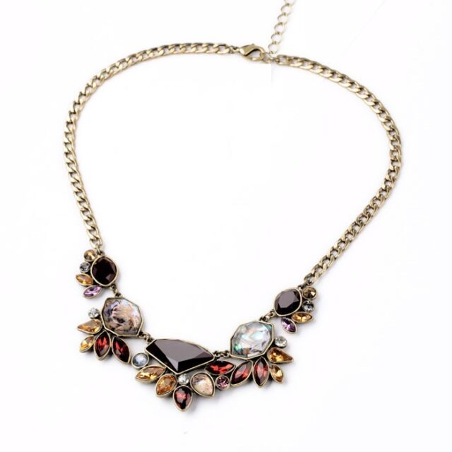 N841 Betsey Johnson Rhinestone Brown Flower Floral Bouquet Hydrangea Necklace US