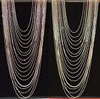 COLLANA donna lunga argento oro elegante cerimonia collar necklace collier C330