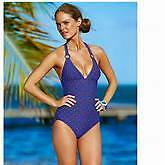 DKNY Polka Dot Halter Mailot One Piece 14 Electric bluee New with Tags