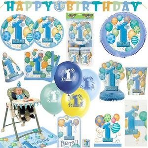 1 geburtstag junge ballons baby kindergeburtstag dekoration party deko set blau ebay. Black Bedroom Furniture Sets. Home Design Ideas