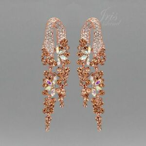 Rose Gold Plated Peach Crystal Rhinestone Drop Dangle Earrings 04082 Party Prom Ebay