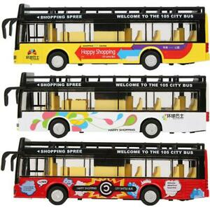 1:50 Open-Top Lighting Sightseeing Double-Decker Pull Back Bus Model Kids Toy