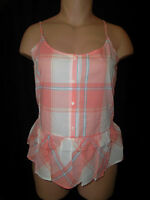 Old Navy Spaghetti Strap Button Front Peplum Ruffle Plaid Top Peach Cream