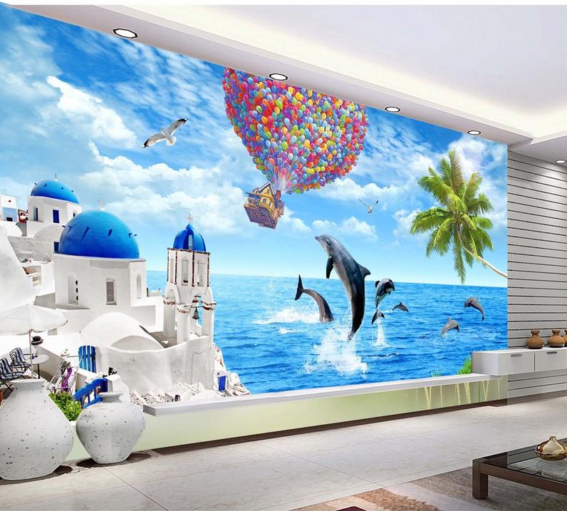 Papel Pintado Mural De Vellón Casa Delfines De Globo 2 Paisaje Fondo De PanGröße