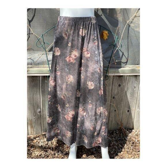 Vintage 90s Velvet Maxi Skirt Floral Cottagecore … - image 1