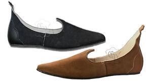 3ef40c109e501f Das Bild wird geladen Mittelalter-Schuhe-Echt-Leder-Rauhleder-braun -oder-schwarz-