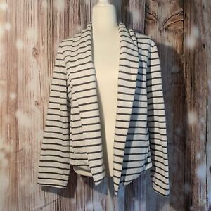 Lou And Grey Business Casual Striped Cotton Blazer With Pockets Size Large