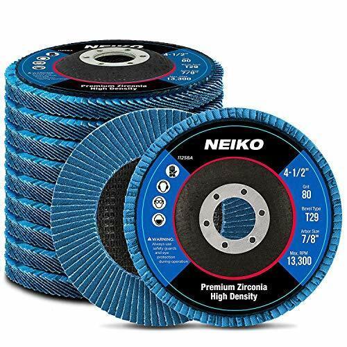 "Neiko 11258A High Density Jumbo Premium Zirconia Flap Disc4.5/"" x 7//8-Inch ..."